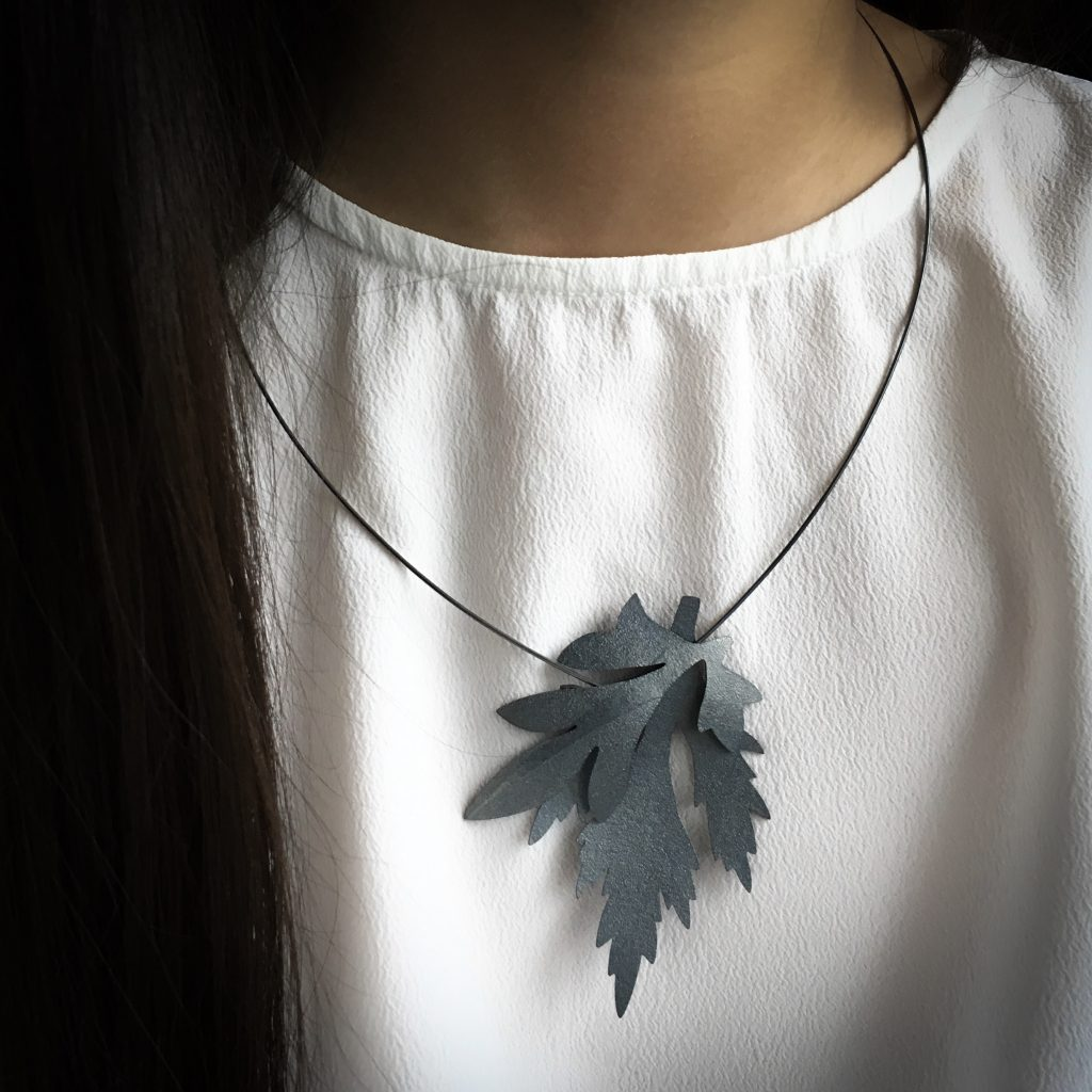 Necklace patinated silver